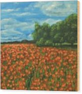 Poppies Field Original Painting Wood Print
