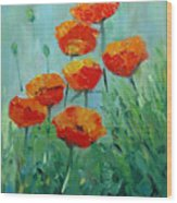 Poppies For Sally Wood Print