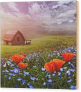 Poppies In A Dream Wood Print