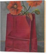 Poppies In A Red Bag Wood Print
