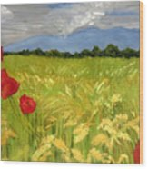 Poppies In A Wheat Field Wood Print
