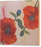 Poppies In Love Wood Print