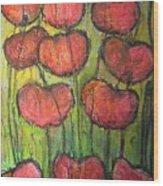 Poppies In Oil Wood Print
