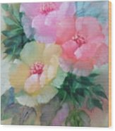 Poppies In Pastel Colors Wood Print