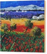 Poppies In Provence Wood Print