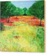 Poppies In The Almond Grove Wood Print
