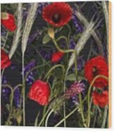 Poppies In The Corn Wood Print