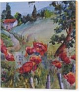Poppies In The Field Wood Print