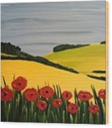 Poppies In The Hills Wood Print
