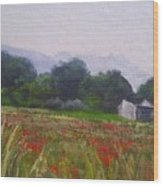 Poppies In Tuscany Wood Print