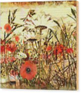 Poppies In Waving Corn Wood Print
