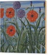 Poppies, Iris, Giant Alium Wood Print