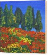 Poppies Landscape Wood Print