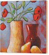 Poppies N Pears Wood Print