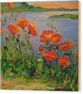Poppies Near The River Wood Print