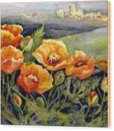 Poppies On A French Hillside Wood Print