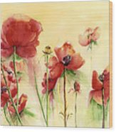Poppies On Parade Wood Print