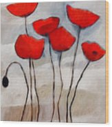 Poppies Painting Wood Print