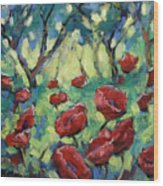 Poppies Through The Forest Wood Print