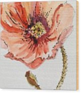 Poppy #2 Wood Print