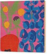 Poppy And Delphinium Wood Print