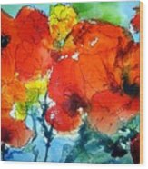 Poppy Bouquet Wood Print