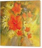 Poppy Bouquet  Wood Print