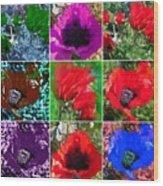 Poppy Collage Wood Print