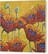 Poppy Craze By Prankearts Wood Print