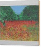 Poppy Field In Ibiza Wood Print