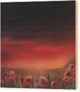 Poppy Fields At Dawn Wood Print