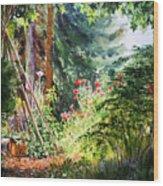 Poppy Garden Landscape Wood Print