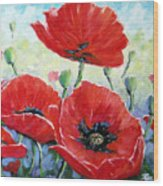Poppy Love Floral Scene Wood Print