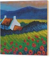 Poppy Meadow Wood Print by John  Nolan