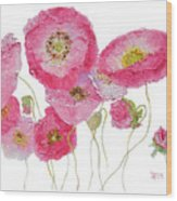 Poppy Painting On White Background Wood Print