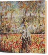 Poppy Scarecrow Wood Print