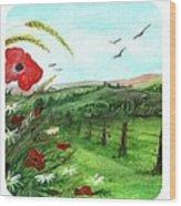 Poppy Tryptic Wood Print