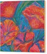 Poppy Twirl Wood Print