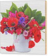 Poppy With Sweet Pea And Corn Flowers On White Wood Print