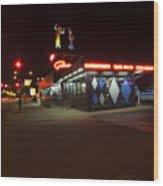 Popular Chicago Hot Dog Stand Night Wood Print