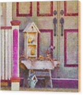 Porch - Cranford Nj - The Birdhouse Collector Wood Print by Mike Savad