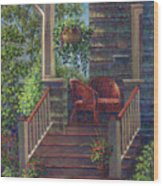 Porch With Red Wicker Chairs Wood Print