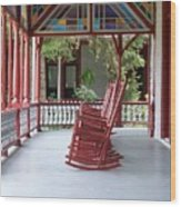 Porch With Rocking Chairs Wood Print