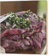 Pork meat with green garlik Wood Print