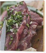 Pork meat with green garlik seasoned Wood Print