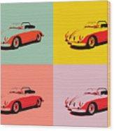 Porsche 356 Pop Art Panels Wood Print