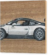 Porsche 911 Gt3r On Wood Wood Print