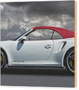 Porsche 911 Turbo S With Clouds Wood Print