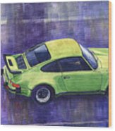 Porsche 911 Turbo Green Wood Print