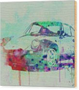 Porsche 911 Watercolor 2 Wood Print by Naxart Studio